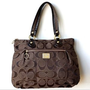 Coach Poppy Signature Metallic Lurex Glam Tote